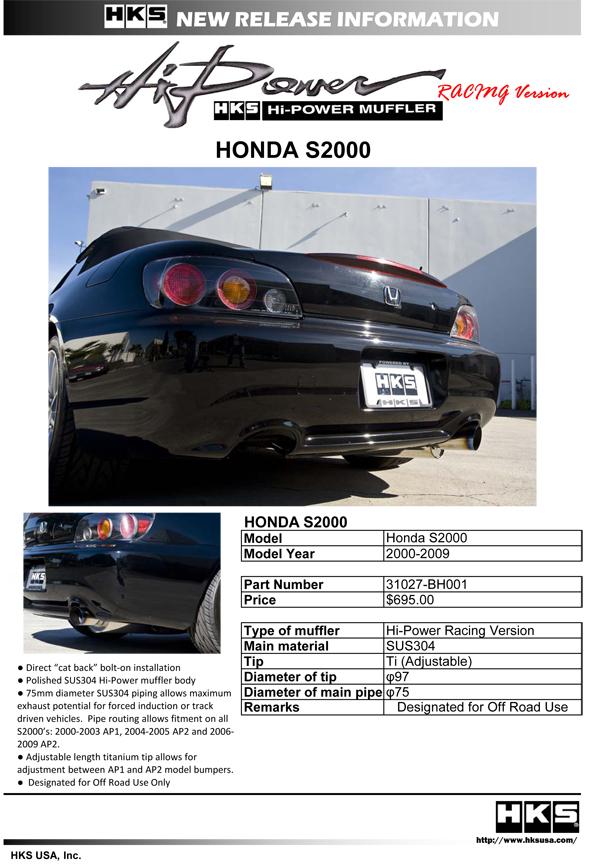 HKS Hi-Power Racing Version S2000 Exhaust 31027-BH001